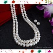 Semi Round Graded Pure Pearls Necklaces - Twin